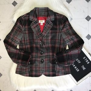 Talbots Petites wool plaid print blazer size 10P